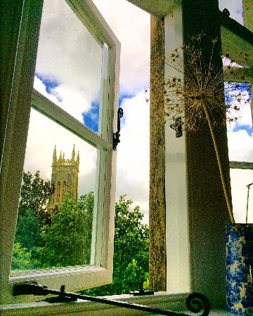 The Old Vicarage: Talk about room with a room, church tower on one side and old town on the other.