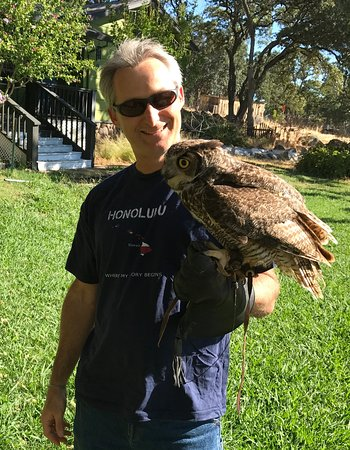 Marysville, CA: This is me holding Tigger, the juvenile male great horned owl. He was very well-behaved.