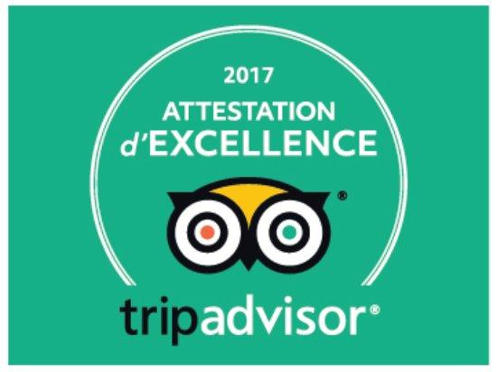 """Résultat de recherche d'images pour """"attestation d'excellence tripadvisor 2017"""""""