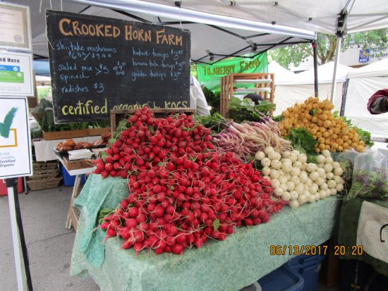 Nelson, Canada: Colorful radishes at the farmer's market on Baker Street.