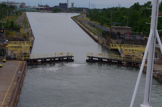 The Welland Canal: Lock opens to let us through