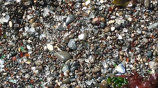 Glass Beach: Tiny pieces of glass are left