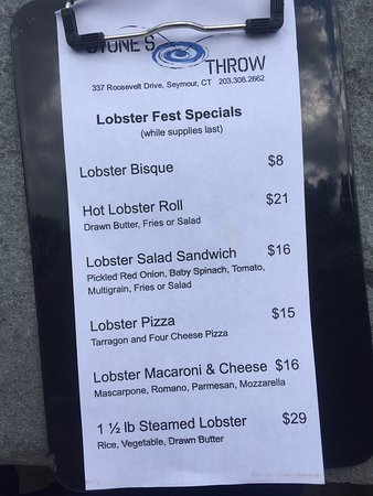 Wednesday Lobster Fest Specials Menu - Stone's Throw, Seymour CT