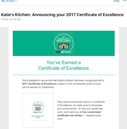 Certificate of Excellence for Katie\'s Kitchen - Picture of Katie\'s ...