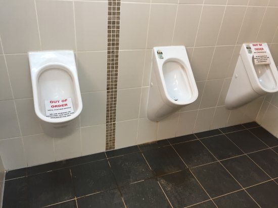 BIG4 Stuart Range Outback Resort: Mens toilet. 2 of the 3 out of action
