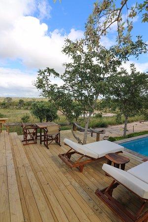 Baobab Ridge: Pool deck area with a view of the waterhole