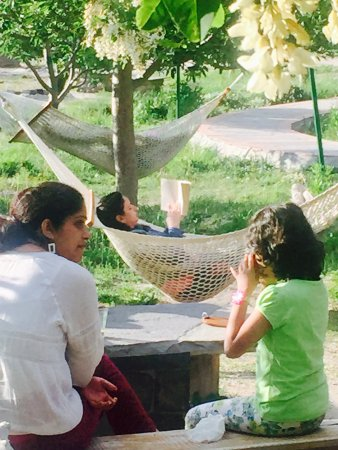 Sangla, India: Reading time in the camp area.