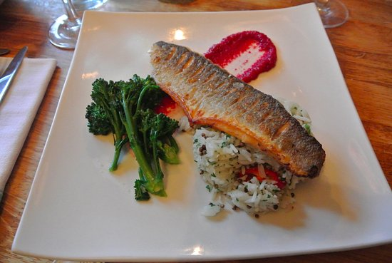 Mellor, UK: Sea bass with rice, broccoli, and beetroot puree