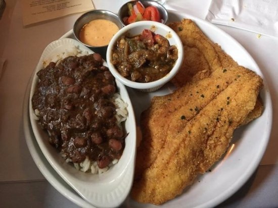 Blue Island, IL: Cat Fish with Crawfish Ettufee and Red Beans and Rice