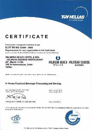 Certificate of Food safety management system - Iso 22000