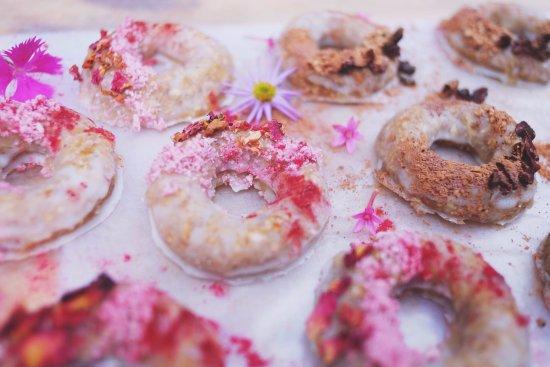 San Marcos La Laguna, Guatemala: Raw, sugar-free, donuts: Glazed with rose and açaì OR Glazed with coffee and cacao