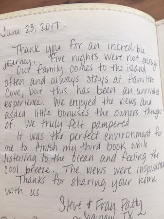 Hamilton Cove Villas: My sister in law's review in the guest book