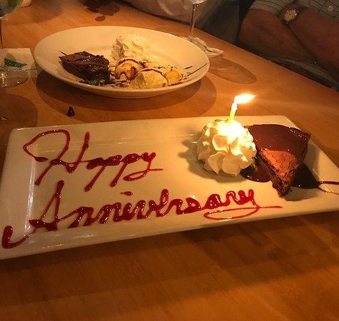 Bimini Twist: Our Anniversary dessert..Brownie, Ice cream and whip cream..yummy!