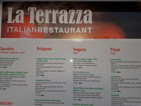 Menu - Bild von Pizzeria La Terrazza, Cala Mesquida - TripAdvisor