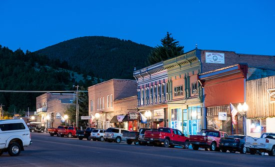 Historic Broadway Street in Philipsburg, Montana