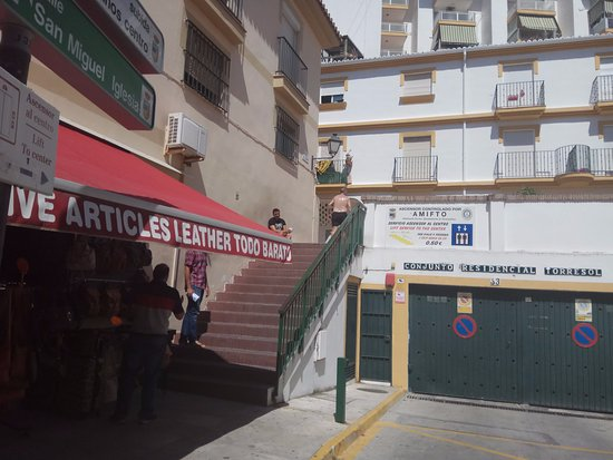 Calle San Miguel: The bottom of the shopping street go up these stairs to the lift