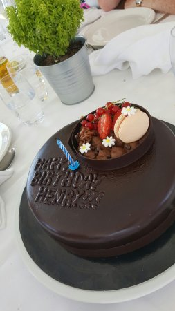 Excellent Beautiful Birthday Cake Picture Of Ouzerie Sani Tripadvisor Personalised Birthday Cards Petedlily Jamesorg