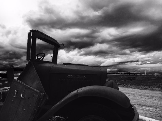 Hardin, Montana: Old trucks look best in Black & White! 