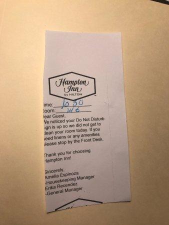 Hampton Inn & Suites Hoffman Estates: We missed having our room cleaned.