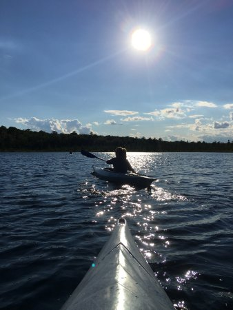 The Lodge at Woodloch: evening kayak on the lake