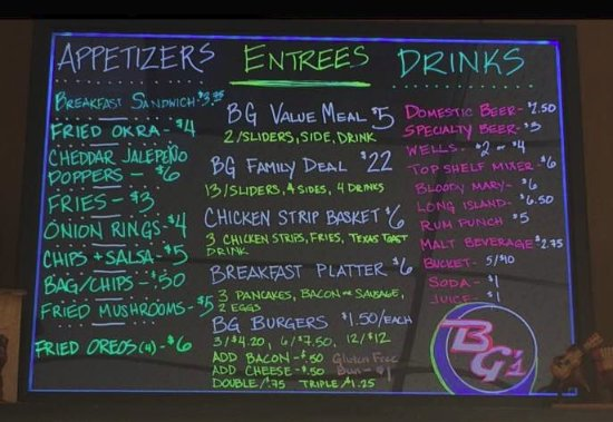 Council Grove, KS: BG's Menu. Great food at inexpensive pricing!!