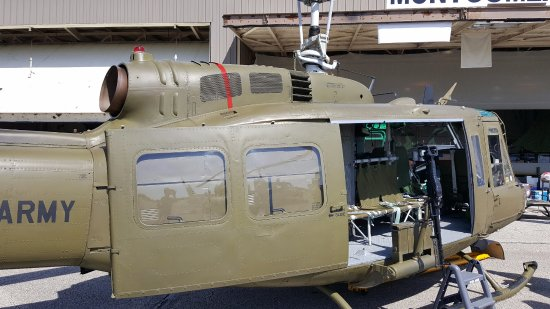 Peru, IN: Fuselage of one of three helicopters on display