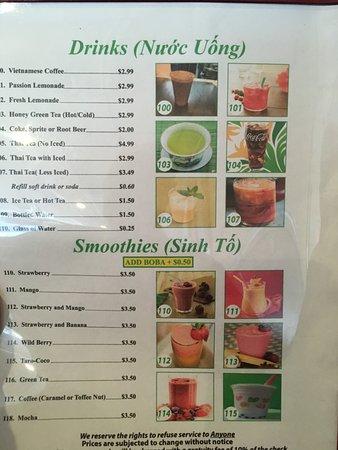 Bellflower, CA: Drink menu