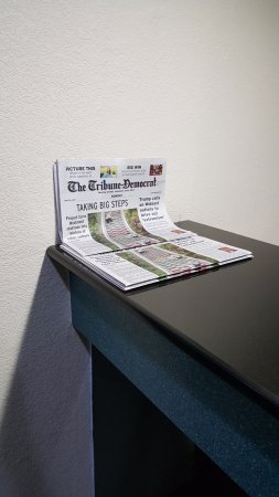 FREE local newspaper everyday available at reception desk