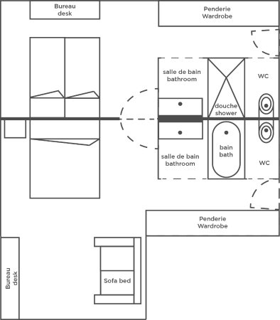 Saint-Jacques-de-la-Lande, Francia: plan de la suite familiale communicante (Family Suite room plan)