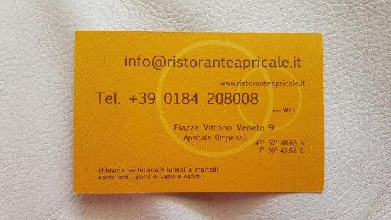 Ristorante Apricale Da Delio Carte De Visite