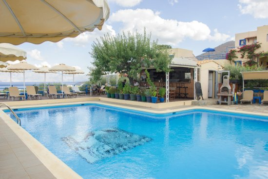 Elounda Heights Apartments and Studios: Pool and bar