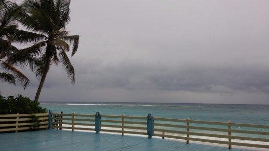 Sivananda Ashram Yoga Retreat Well Being Center: beach yoga deck in windy day