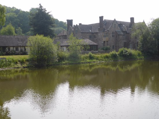 Madeley, UK: view from across 'lake' - east wing on left - bar in middle