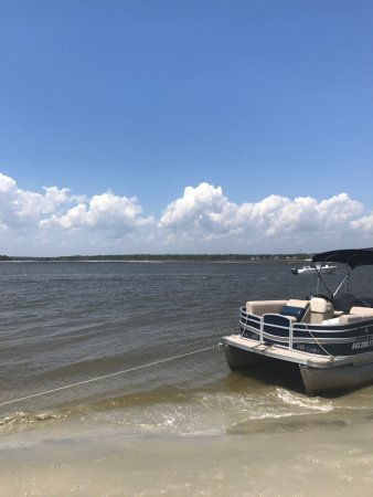 Our Pontoon Boat and view of the inlet - Picture of Myrtle