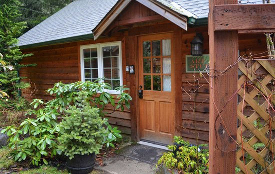 Copper Creek Inn: Art Studio Cabin has a 2 queen beds and a private hot tub on the creek.
