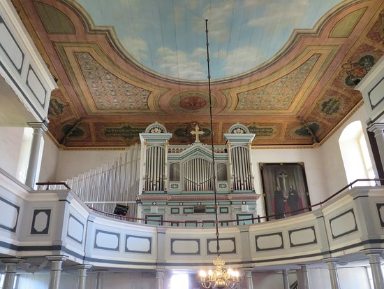 Ueckermunde, Germany: Nice view of organ and painted ceiling.