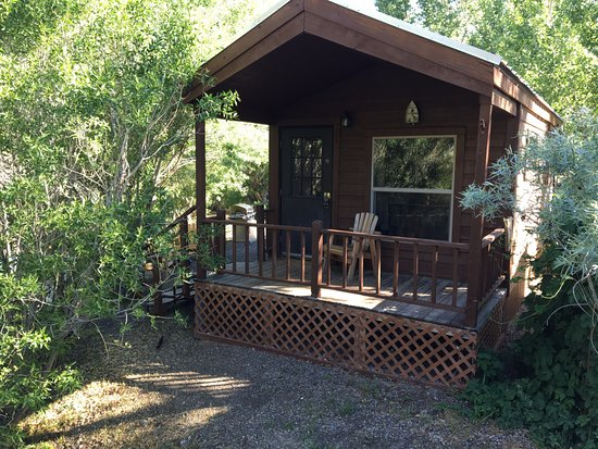 Virginia Creek Settlement: The cabin, the deck and the creek out the door.