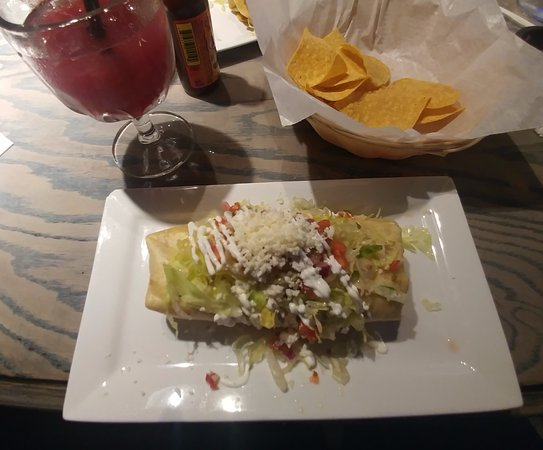 Painesville, OH: Frito (fried) burrito with Carne Asada and margarita sangria