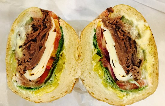 Granzella's Restaurant & Deli: Roast beef deli sandwich with yellow peppers, red onion and Havarti