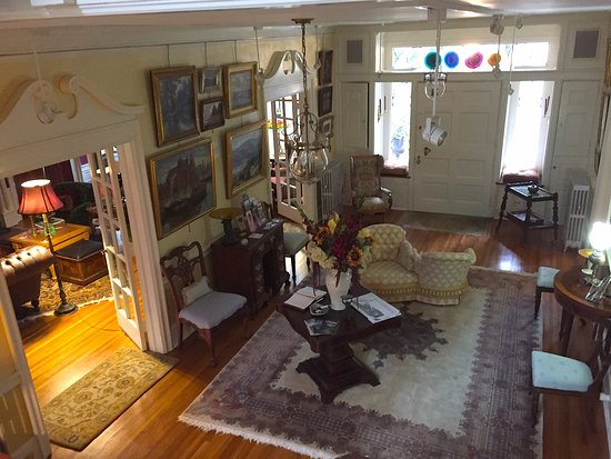 View of foyer from stairs, Juniper Hill Bed & Breakfast, Trumansburg, NY.