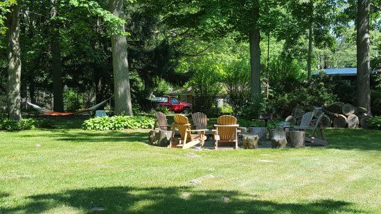 The Saugatuck Retro Resort : Lawn, fire ring and hammock are inviting outdoor spaces