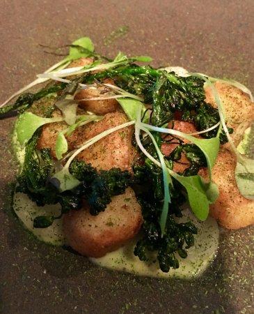 Little River, CA: three-cornered leek dumplings with flowering broccolini, purple kohlrabi, meyer lemon