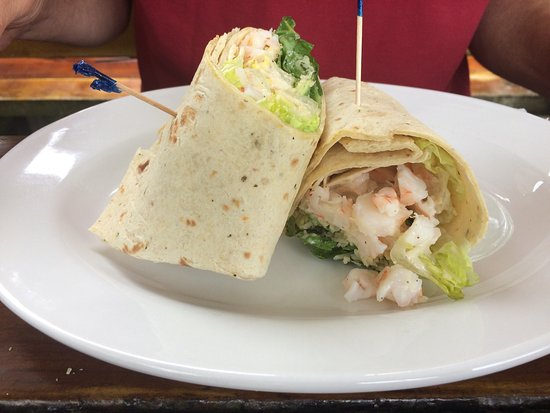 Cottage Garden Cafe: Southwest chicken wrap, shrimp wrap, seafood chowder and deep fried asparagus