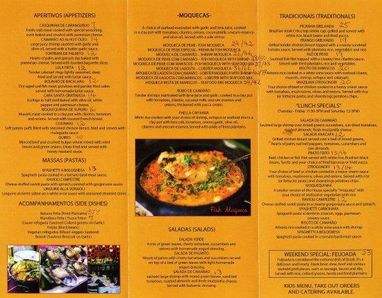 Take Out Menu Picture Of Moqueca Brazilian Restaurant