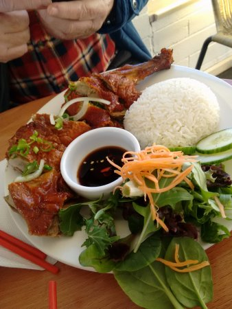 Kettering, Australia: roast duck and rice