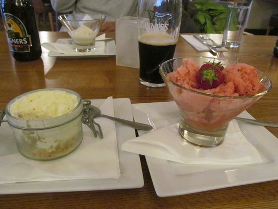 Marazion Hotel: Cheesecake mit Sorbet