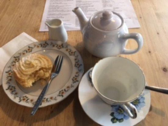 Malpas, UK: Tea and a biscuit.