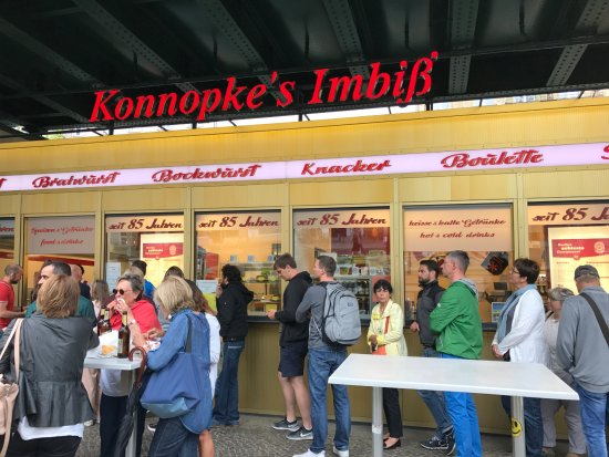 the line out front picture of konnopke 39 s imbiss berlin tripadvisor. Black Bedroom Furniture Sets. Home Design Ideas