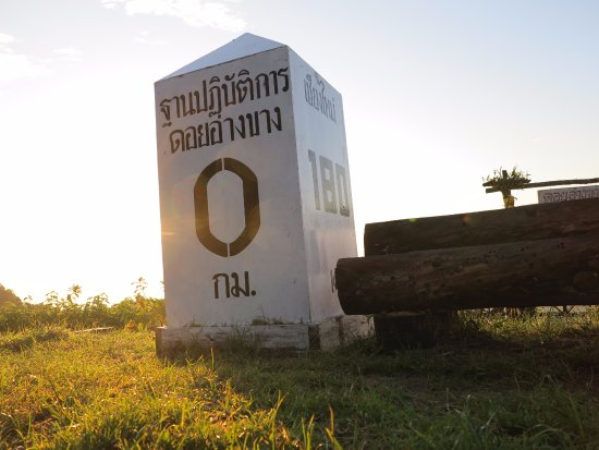 Fang City, Thailand: Distance Marker at Doi Ang Khang