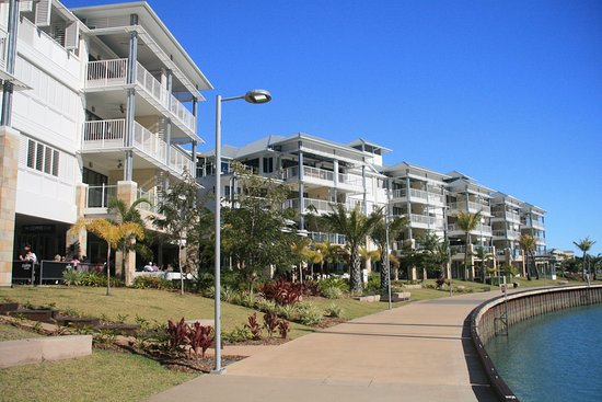 The Coffee Club : Coffee club is on the ground floor in the photo, overlooks Port of Airlie Marina